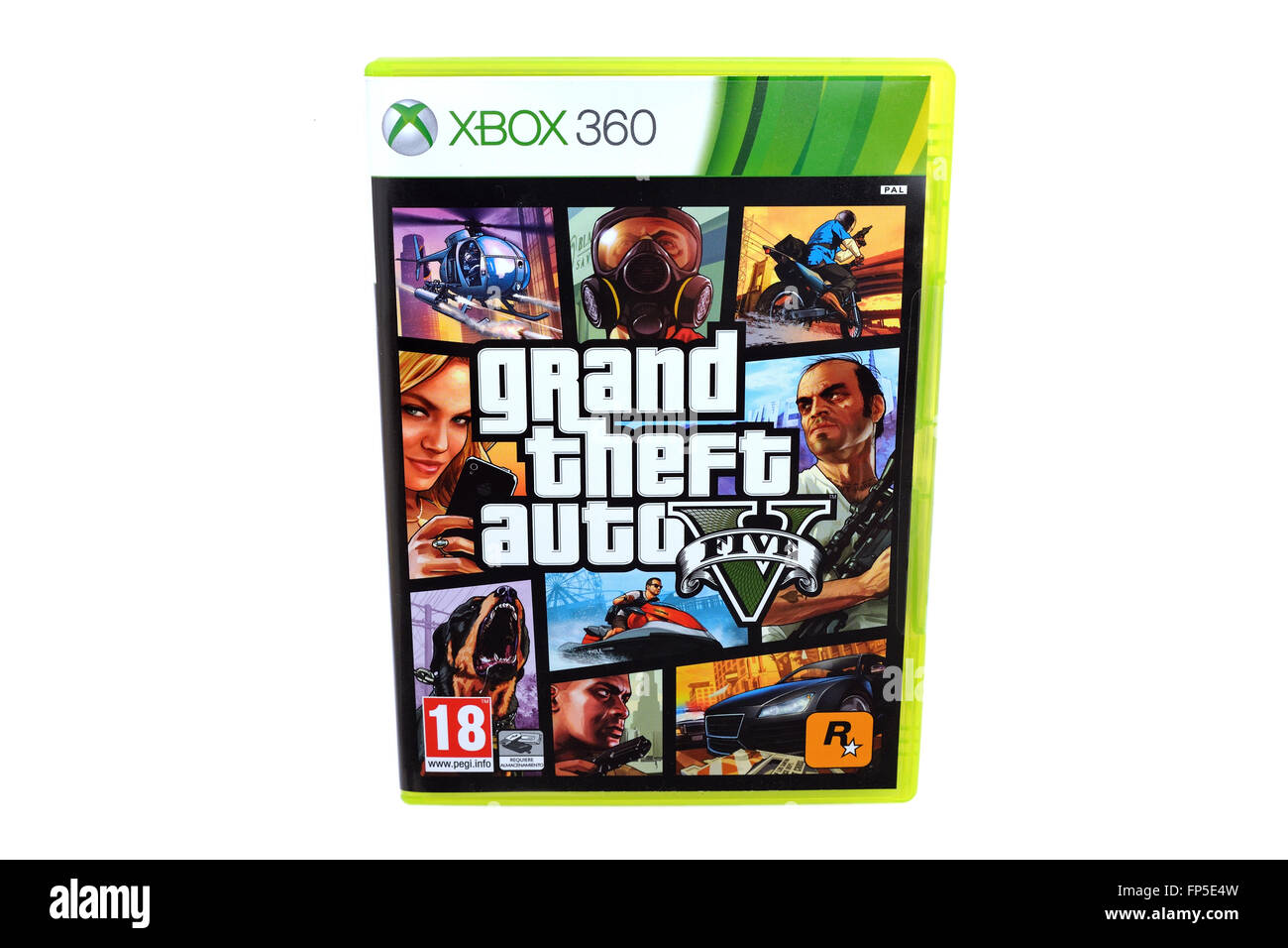 BARCELONA, SPAIN - DEC 27, 2014: The famous video game GTA V, also known as Grand Theft Auto, released by Rockstar, - Stock Image