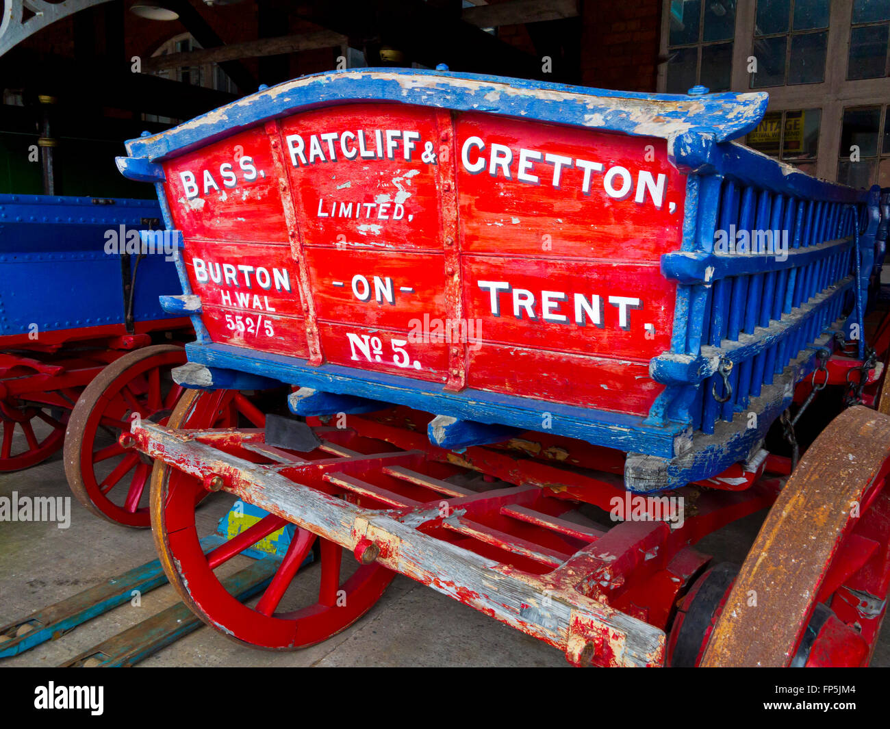 Old horse drawn wagon at the National Brewery Centre a museum in Burton upon Trent Staffordshire England UK - Stock Image
