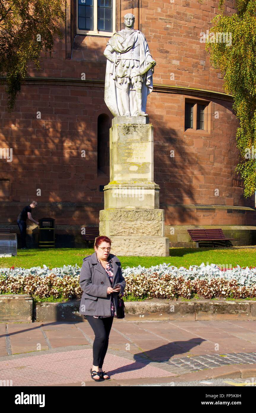 Statue of Earl of Lonsdale outside the Citadel and Council Offices. Botchergate, Cumbria, England, United Kingdom, - Stock Image