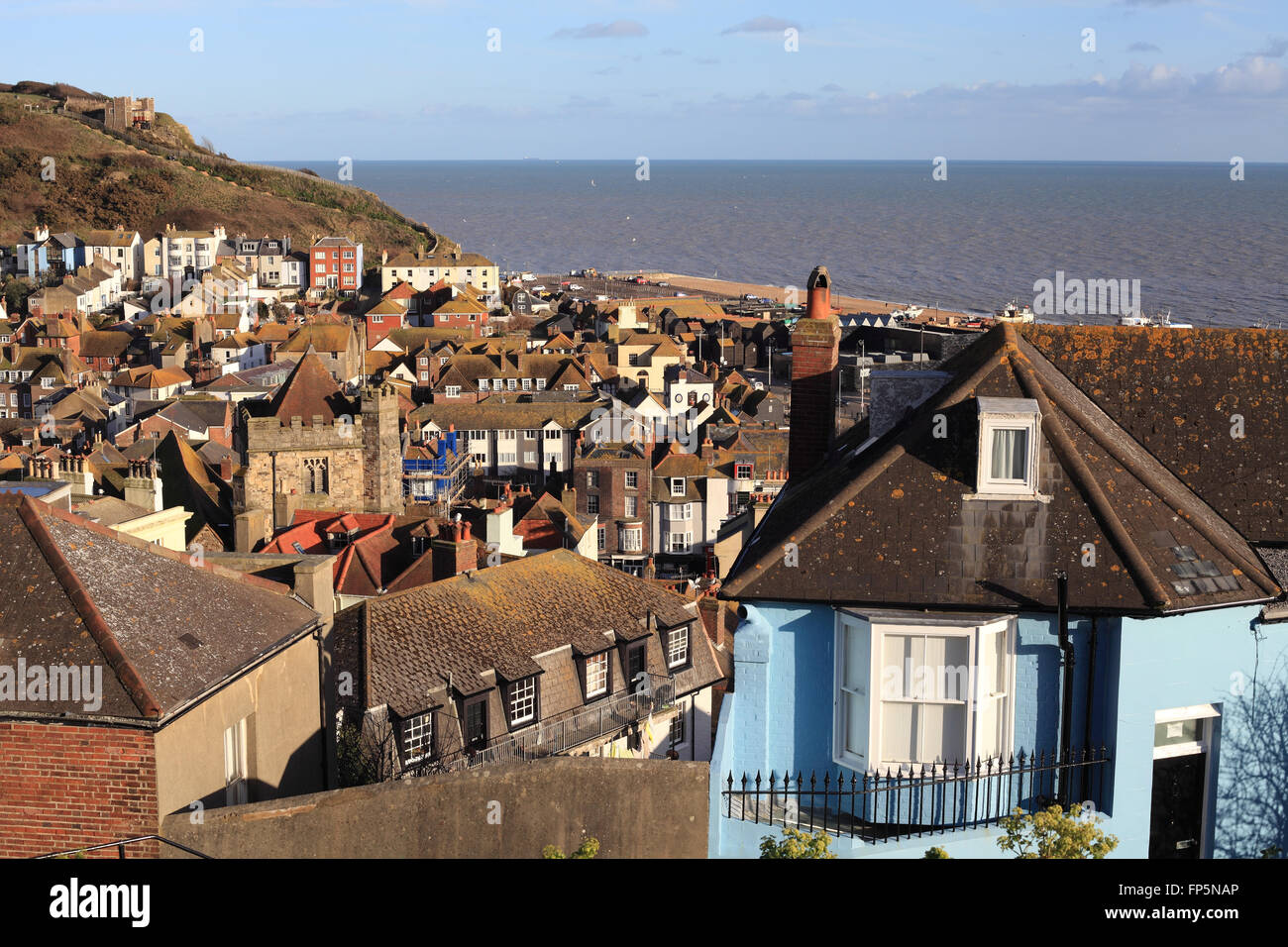 Hastings old town and East Hill lift seen from the top of the West Hill, East Sussex, UK - Stock Image