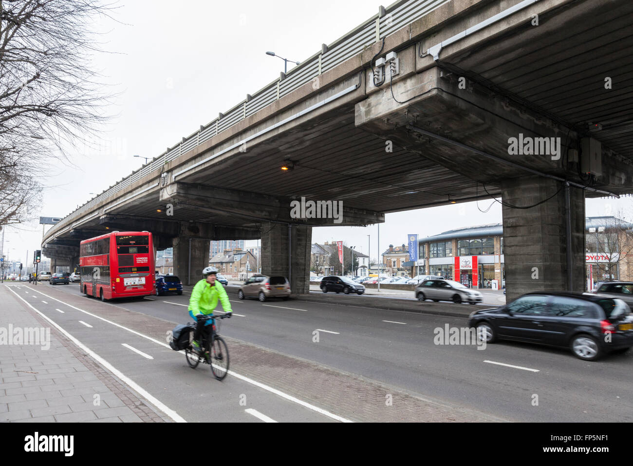 A section of elevated M4 motorway above the A4 road at Brentford, London, England, UK - Stock Image