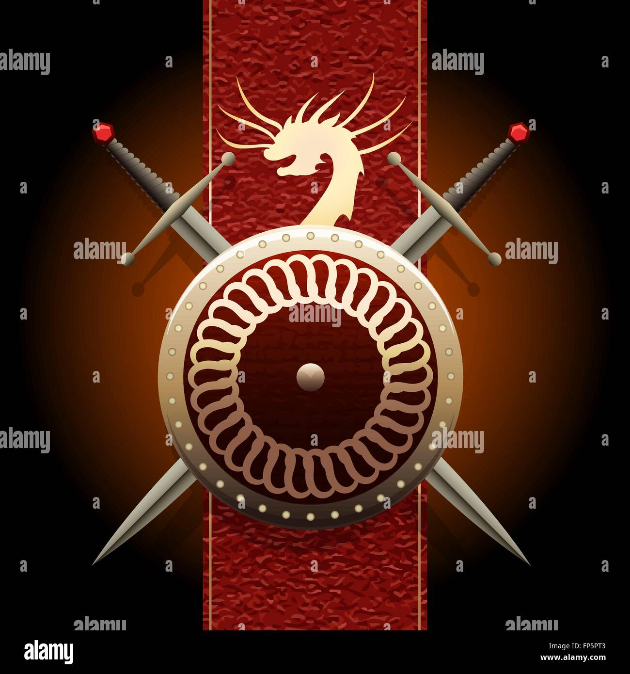 Shield wшth swords against medieval banner flag with symbol of a dragon Stock Vector