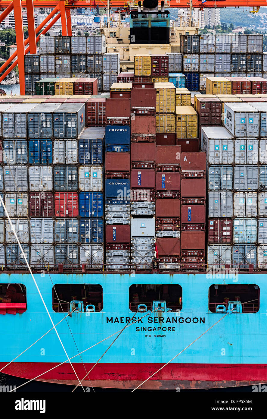 Shipping containers being stacked on a cargo ship, Rijeka, Croatia Stock Photo