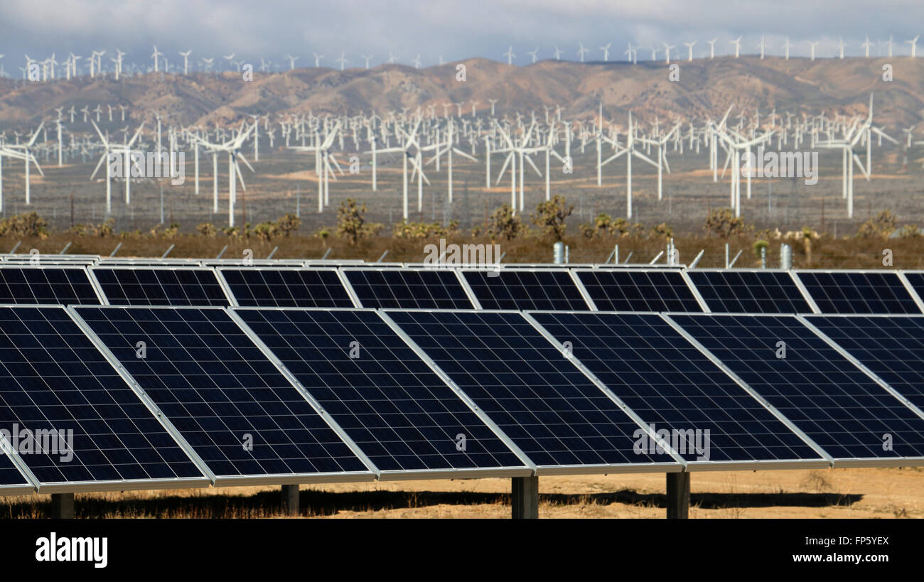 Solar panels and wind mill electric power production near Mojave California - Stock Image