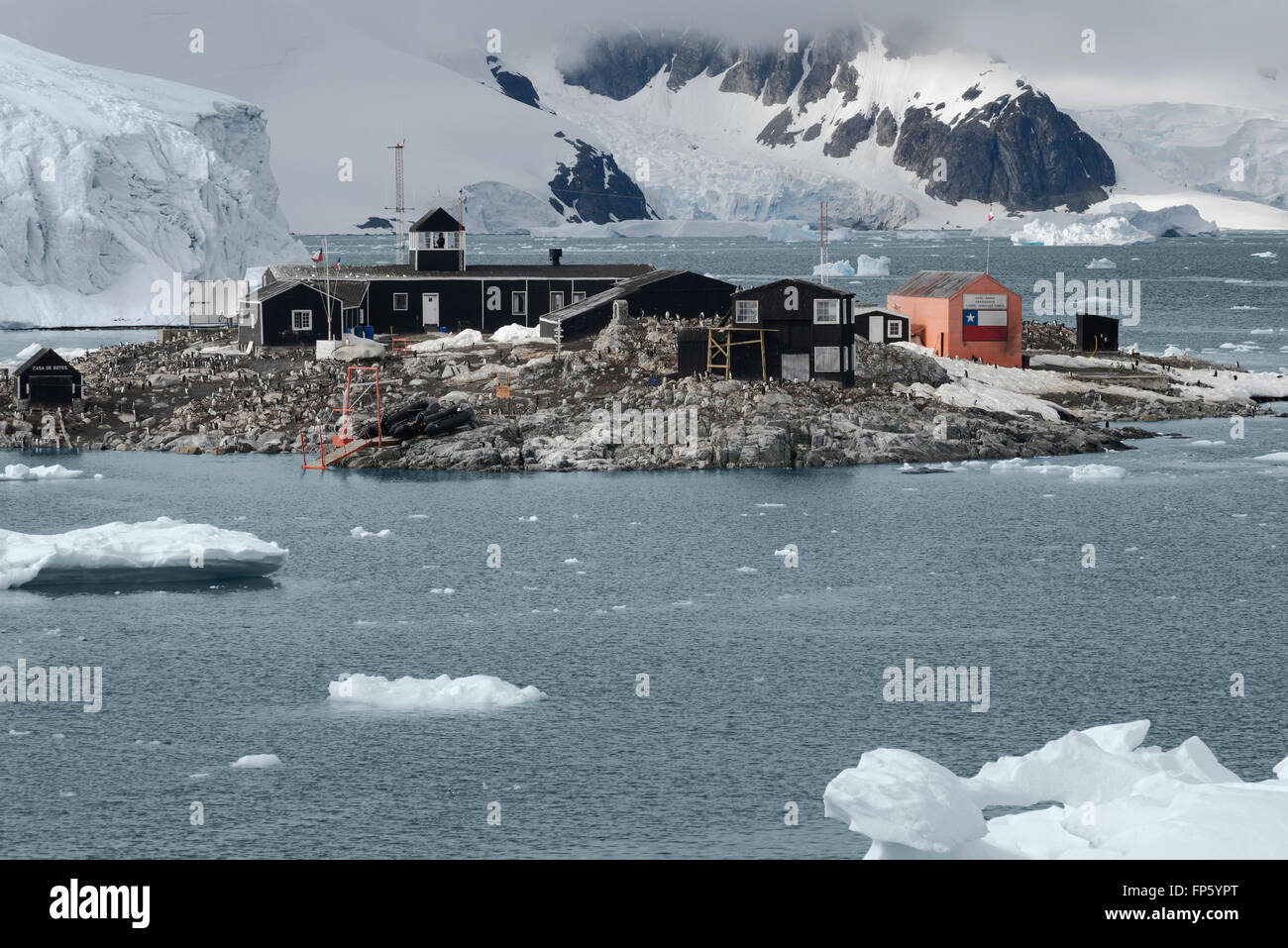 Chilean Antarctic Research base Gonzalez Videla. Situated on the Antarctic Peninsula at Paradise Bay. It is named Stock Photo