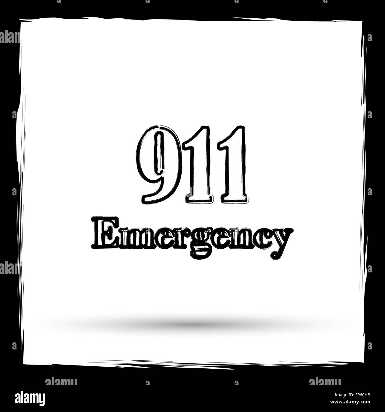 911 Emergency icon. Internet button on white background. Outline design imitating paintbrush. - Stock Image
