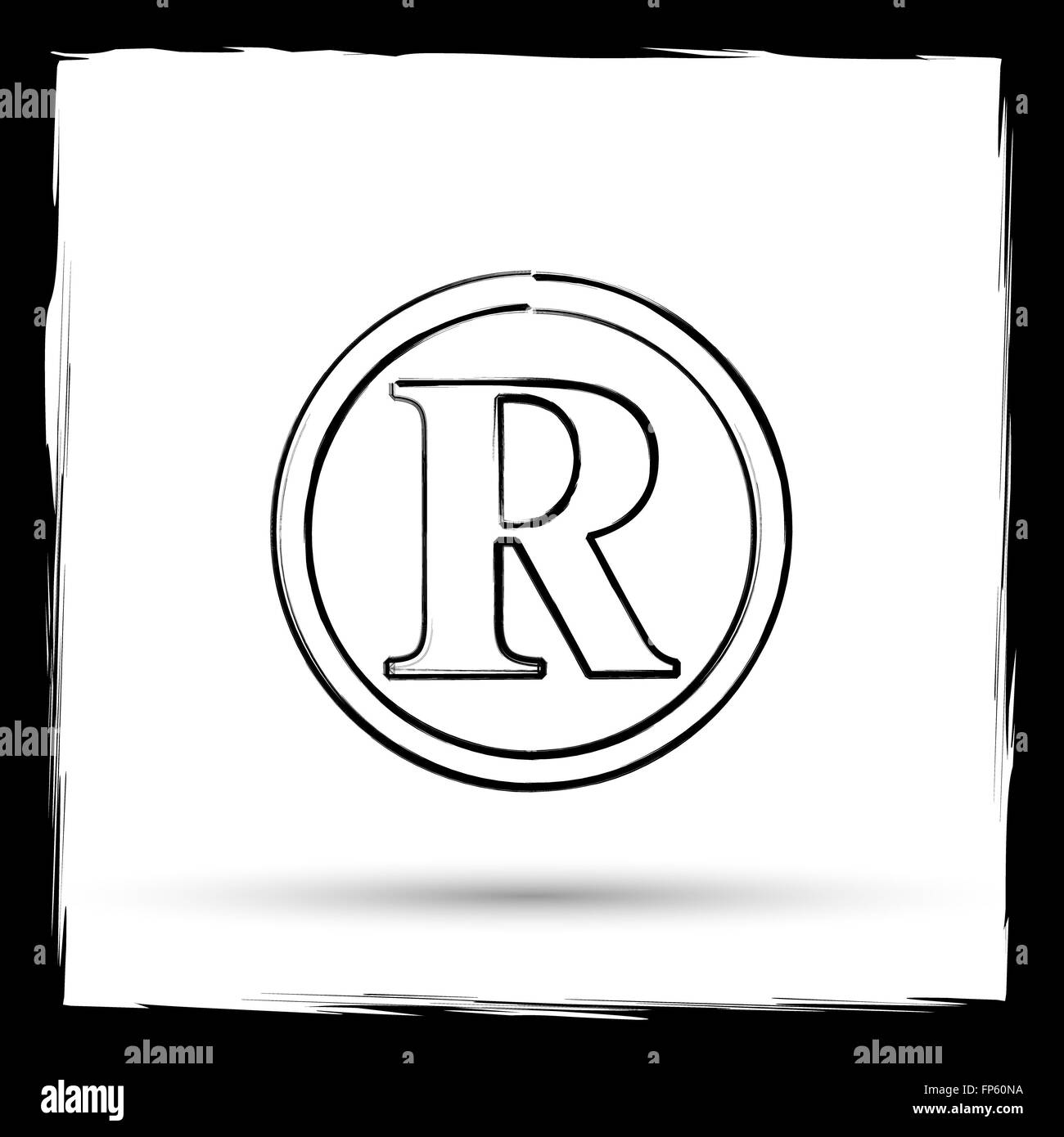 Registered Mark Icon Internet Button On White Background Outline