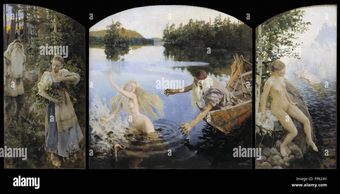 Akseli Gallen-Kallela - Aino Myth, Triptych - Stock Image