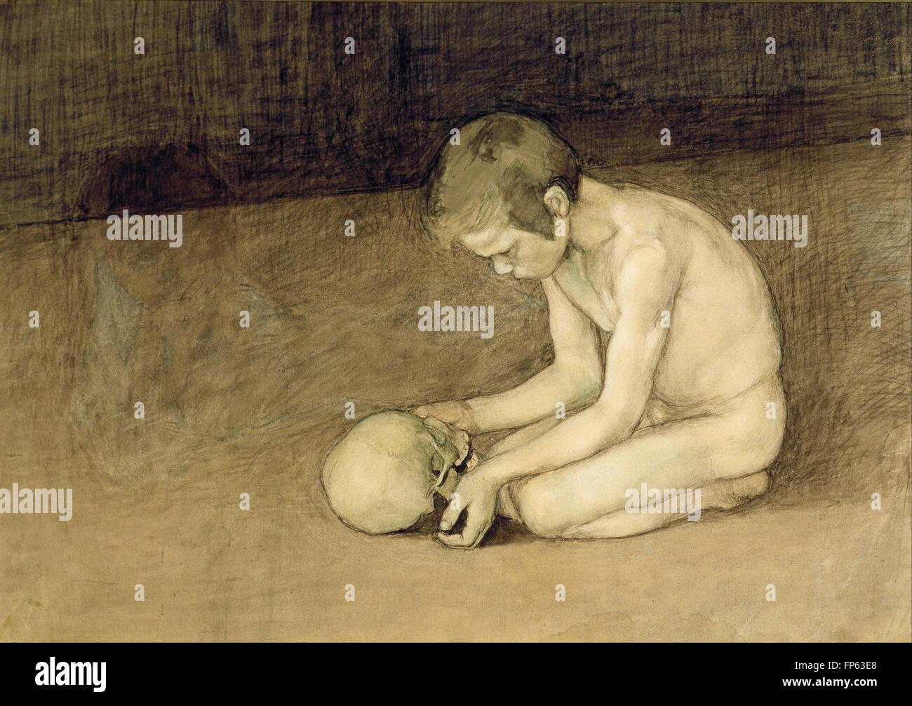 Magnus Enckell - Boy with Skull - Stock Image