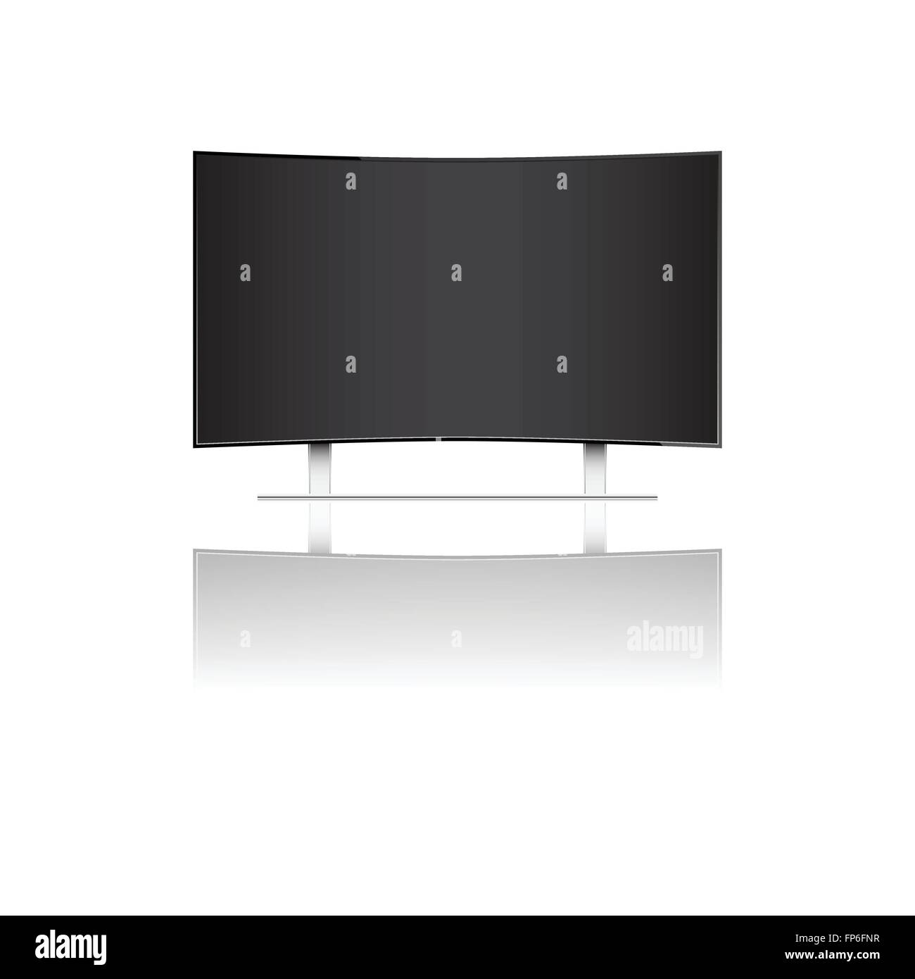 Modern curve television isolated on white background vector illustration - Stock Image