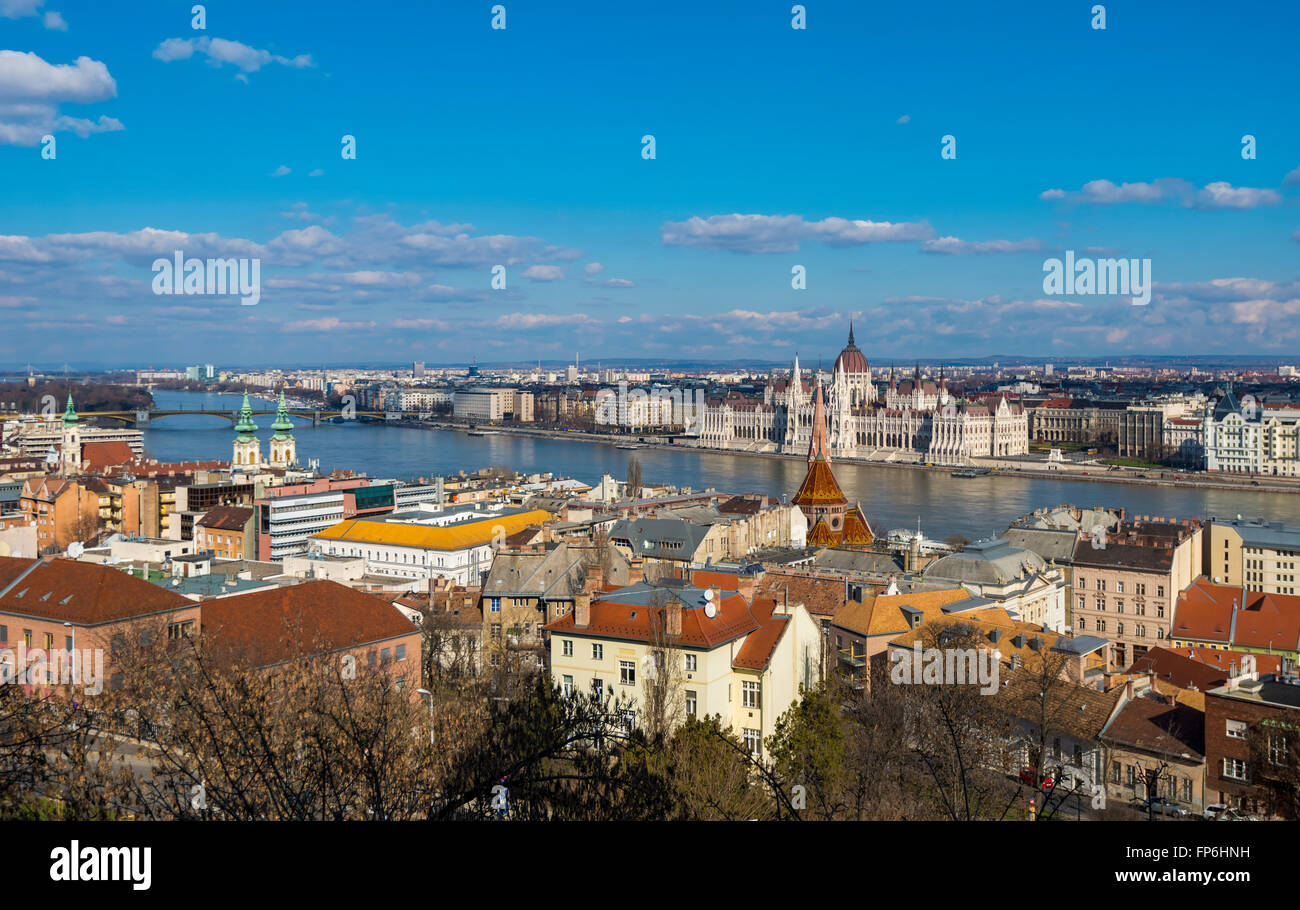 Budapest view from Fisherman's Bastion - Stock Image