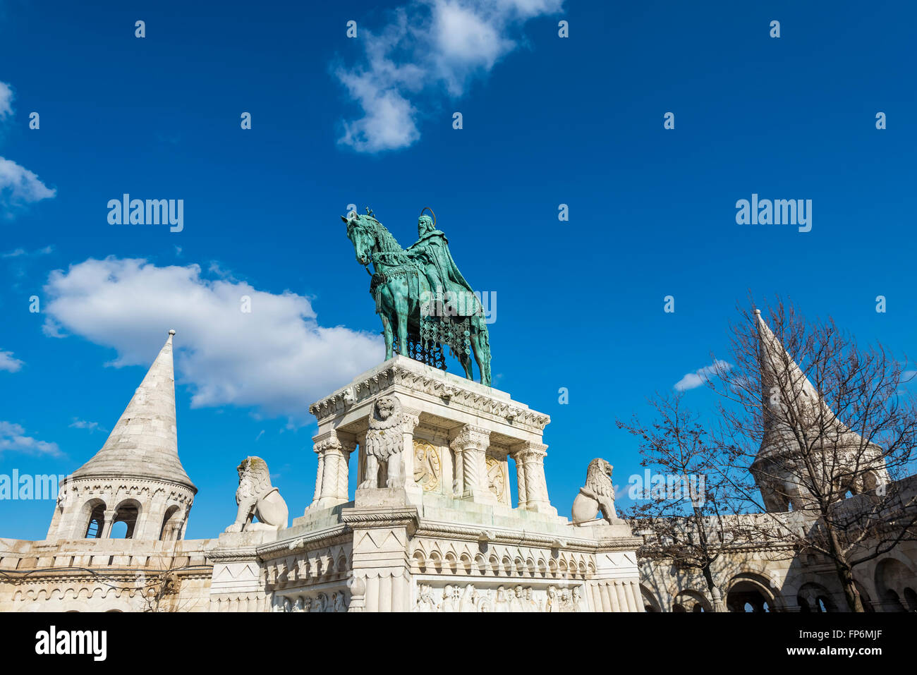 Statue of King Stephen at Fisherman Bastion - Stock Image