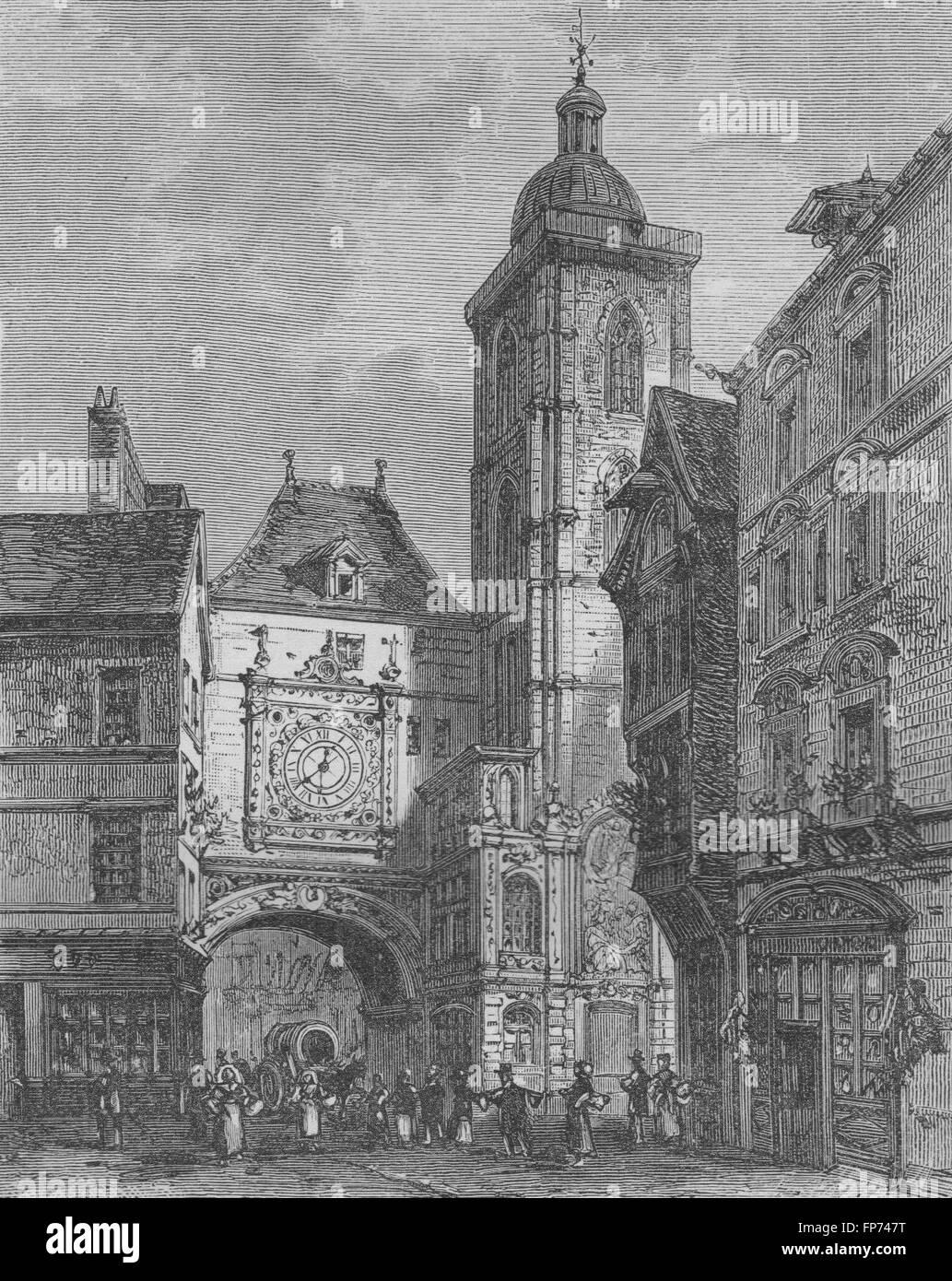 ROUEN: Rue de la Grosse Horloge, antique print 1882 - Stock Image