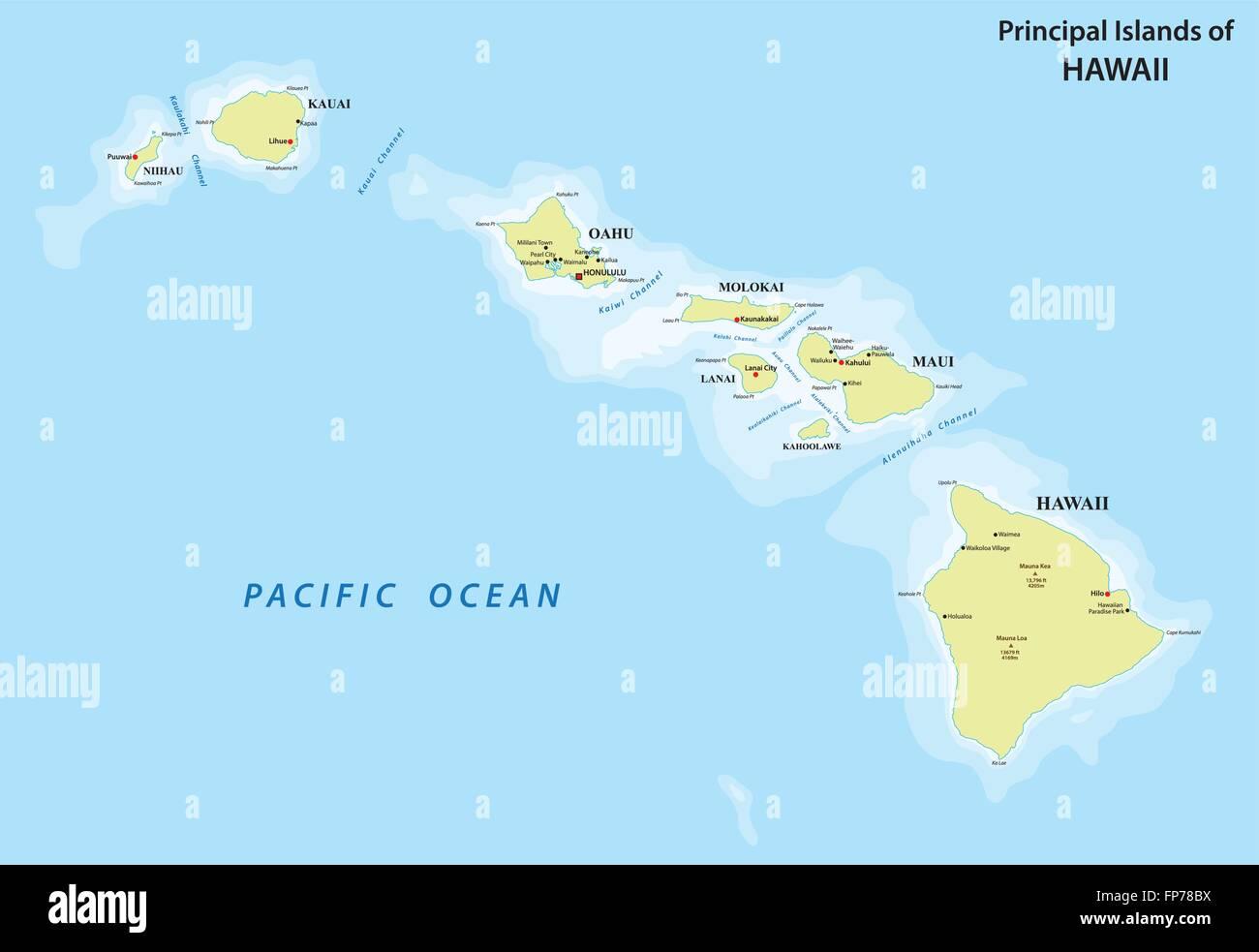 Hawaii Map Stock Vector Art Illustration Vector Image 99734542