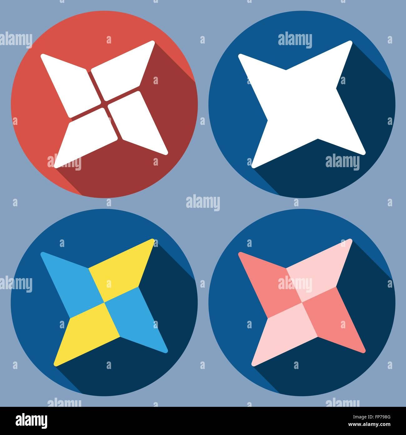 abstract quadrangular shuriken Stock Vector