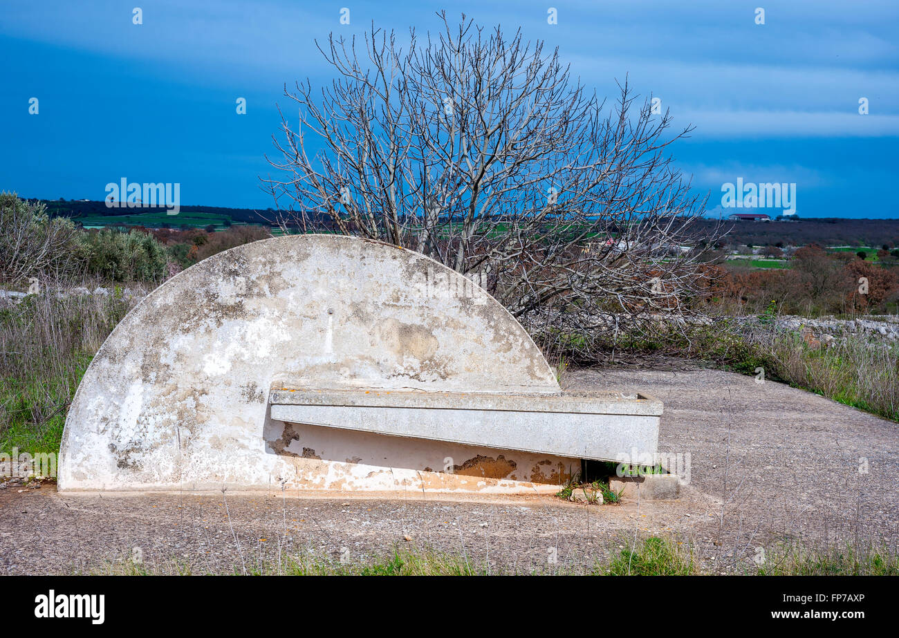 water trough of a consortium of drainage in the Apulia countryside - Stock Image