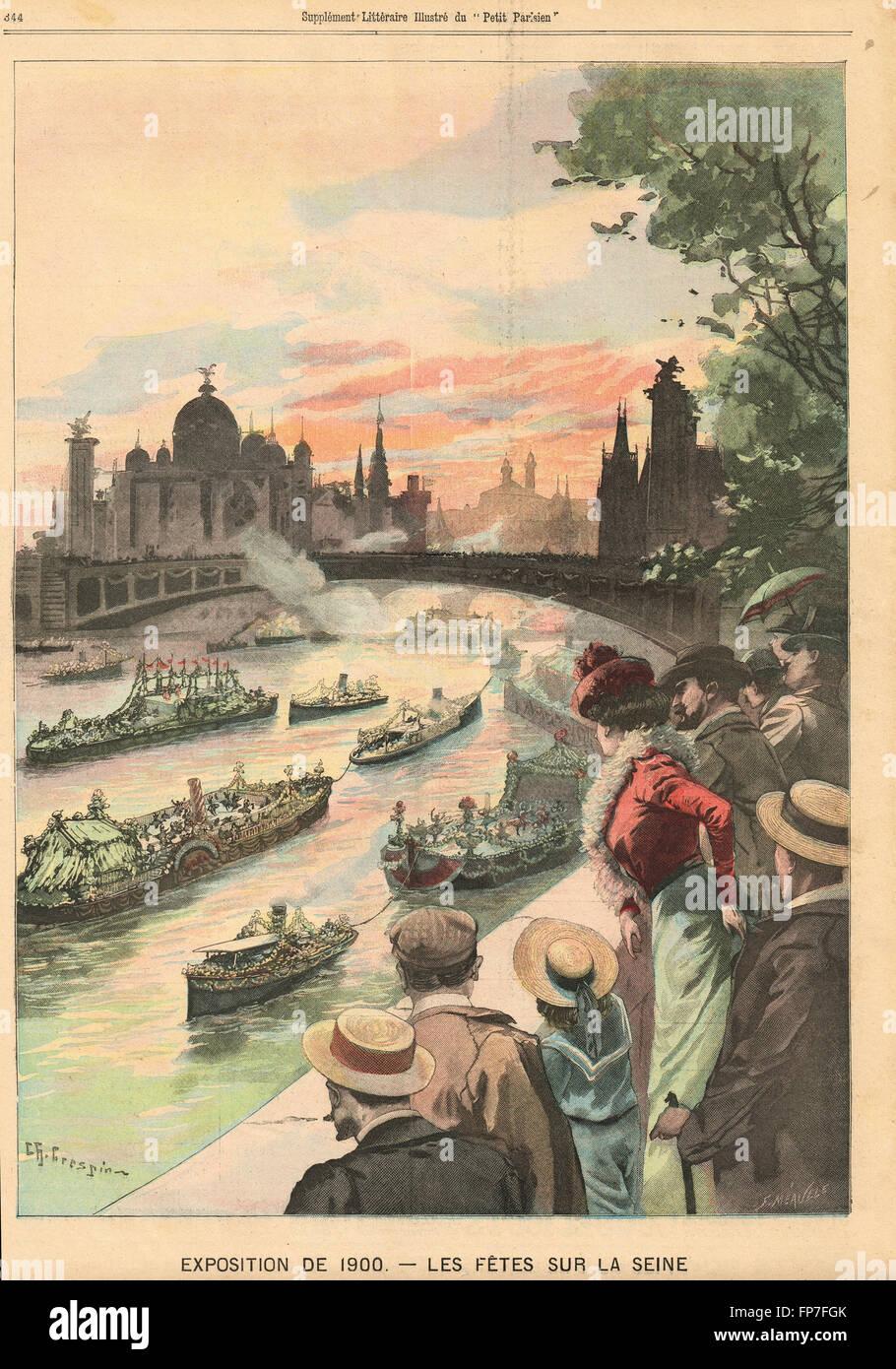 Celebrations on the Seine Paris Exhibition 1900 - Stock Image