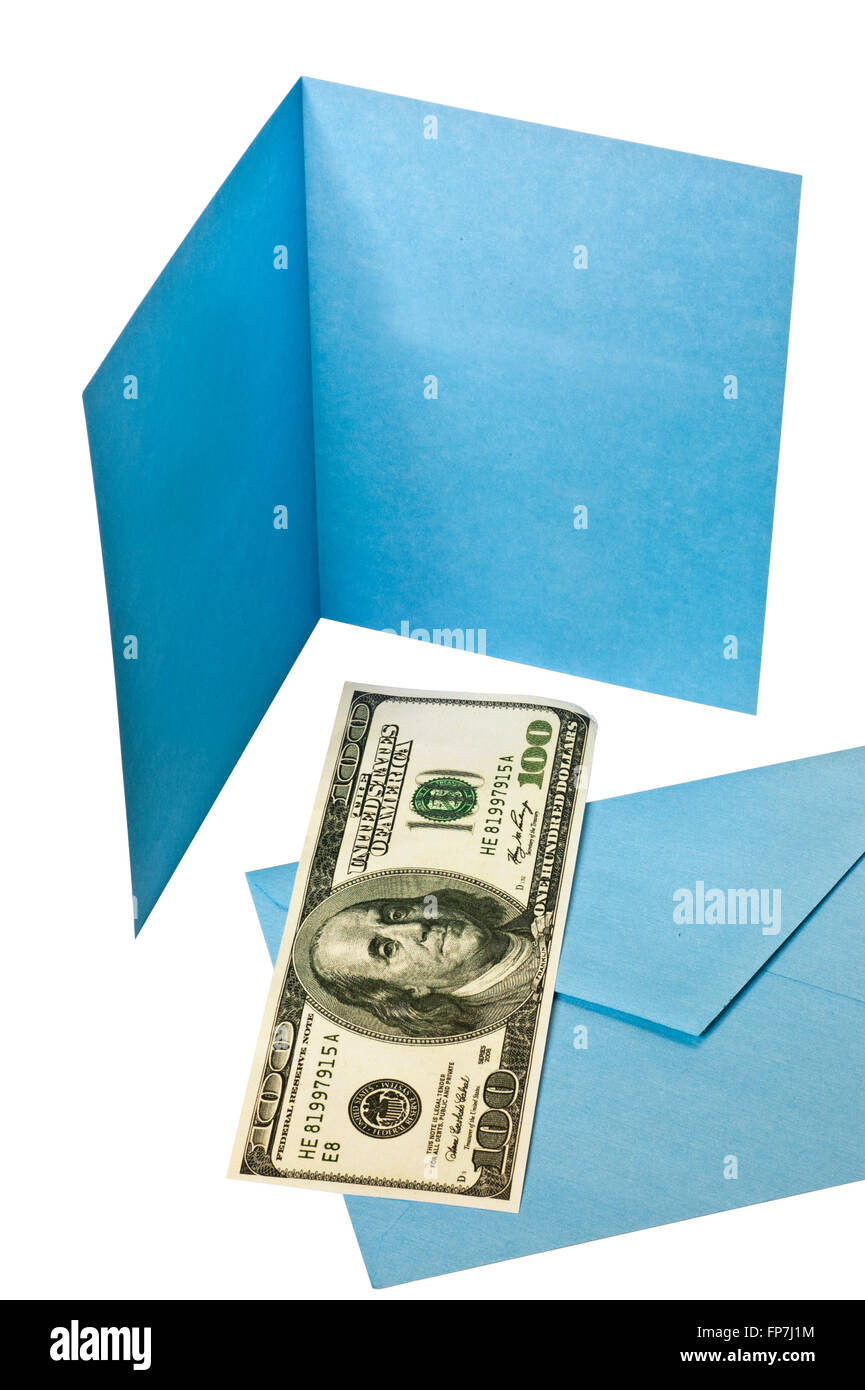 Blank Blue Greeting Card and Envelope With Hundred Dollar Bill - Stock Image