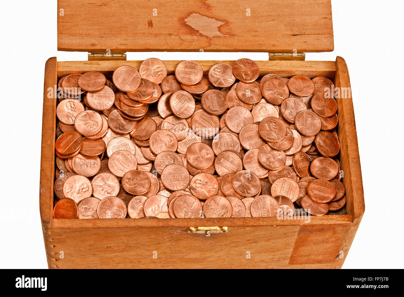 Wooden Box Full of Pennies - Stock Image
