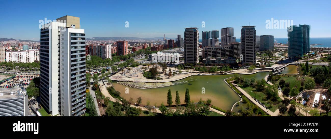 Parc de Diagonal Mar. Poble Nou quarter in Barcelona. Park designed by the architects Enric Miralles and Benedetta Stock Photo