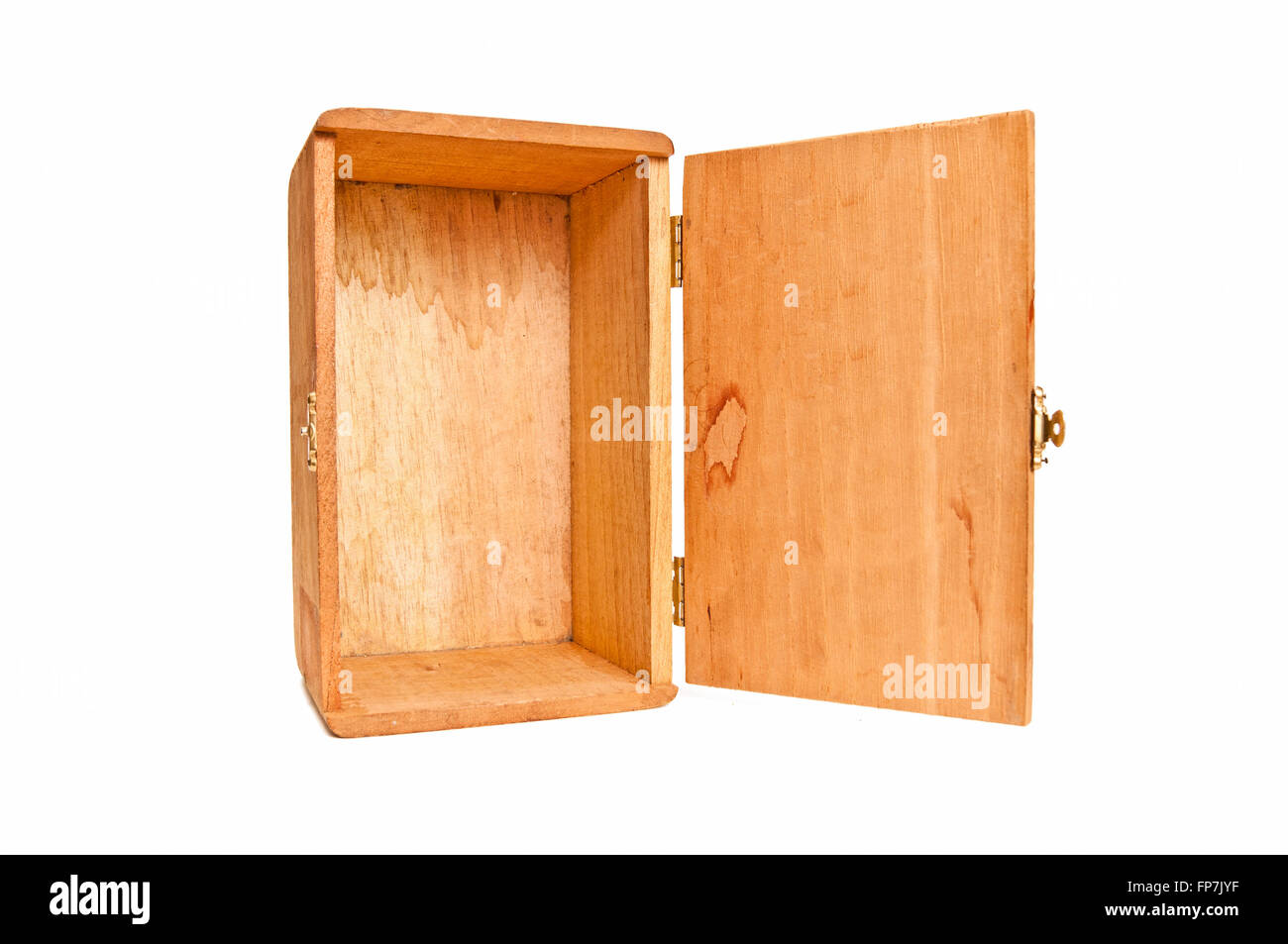 Empty Wooden Box On End With Hinged Door Open Stock Photo
