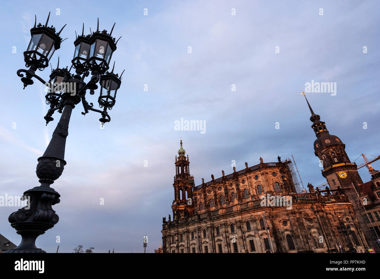 Streetlight in the Theaterplatz with Dresden Cathedral and tower Castle, Dresden, Saxony, Germany - Stock Image