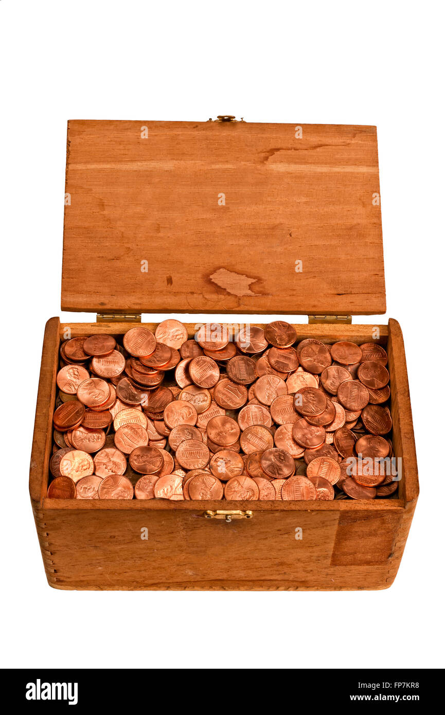 Old Wooden Box Full of Pennies - Stock Image