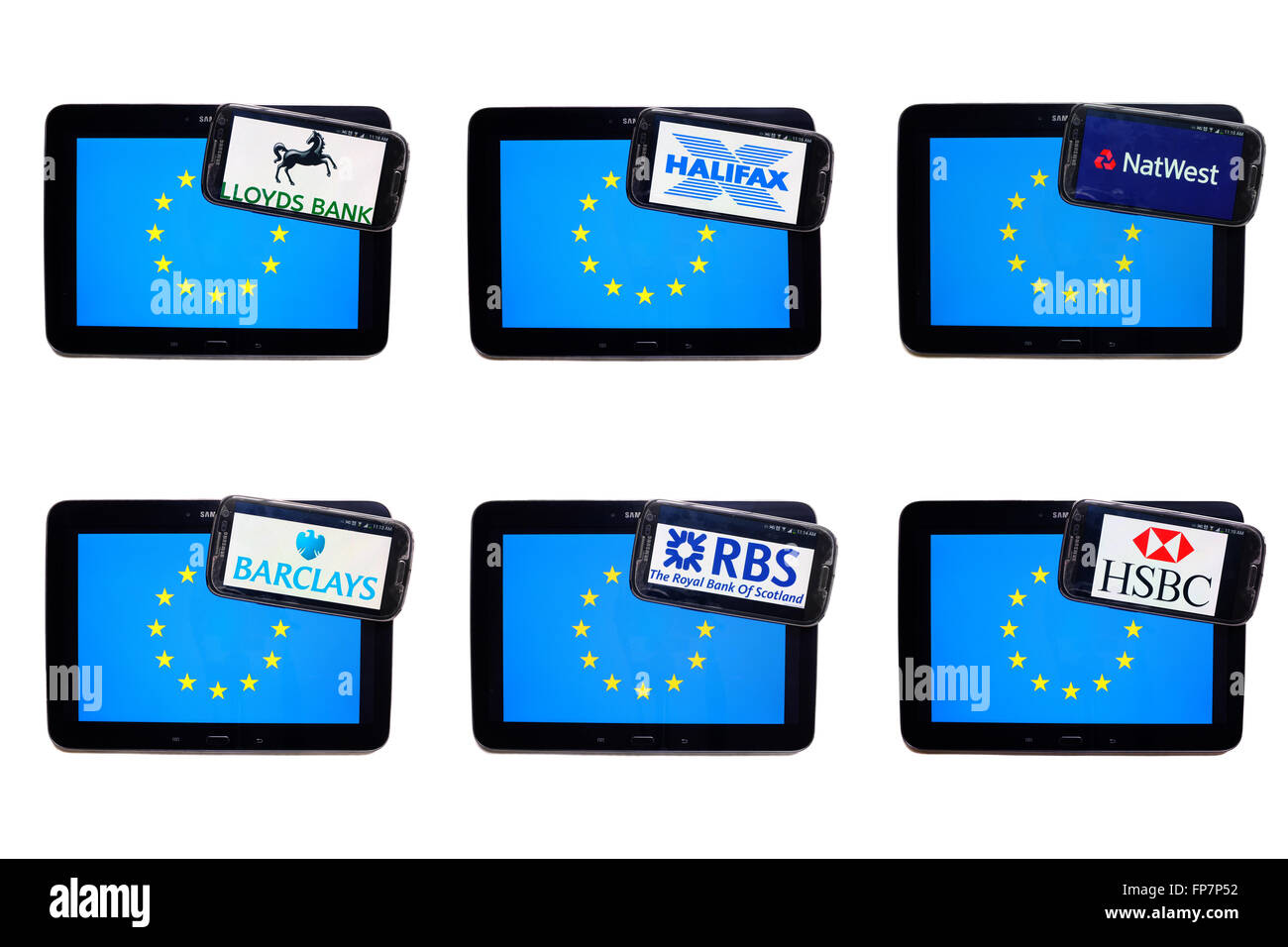The logos of British banks on the screens of smartphones displayed on top of the EU flag. - Stock Image