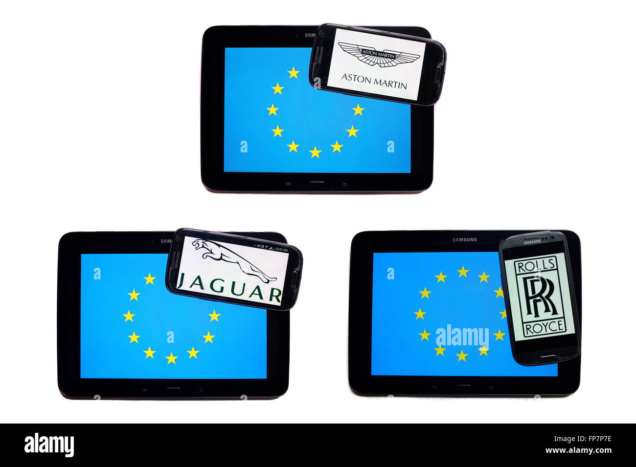 The logos of British car companies on the screens of smartphones displayed on top of the EU flag. - Stock Image