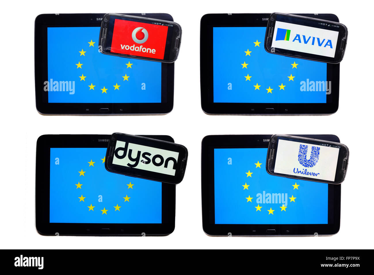 The logos of British companies on the screens of smartphones displayed on top of the EU flag. - Stock Image