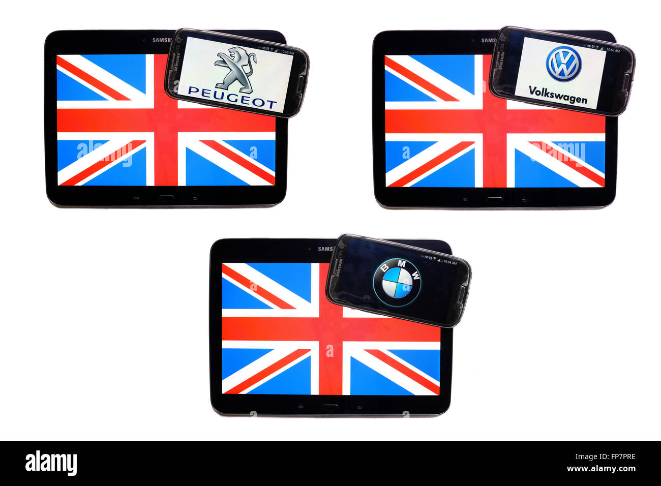 The logos of European companies on the screens of smartphones displayed on top of Union Jacks. - Stock Image