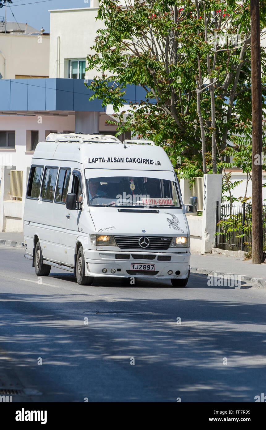 Mercedes minibus on a street in the city of Kyrenia in Northern Cyprus. - Stock Image