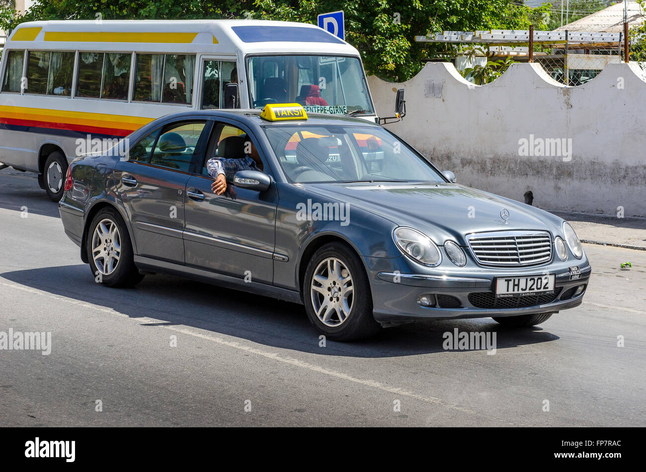 mercedes taxi driving along a road in the city of kyrenia northern stock photo 99746260 alamy. Black Bedroom Furniture Sets. Home Design Ideas