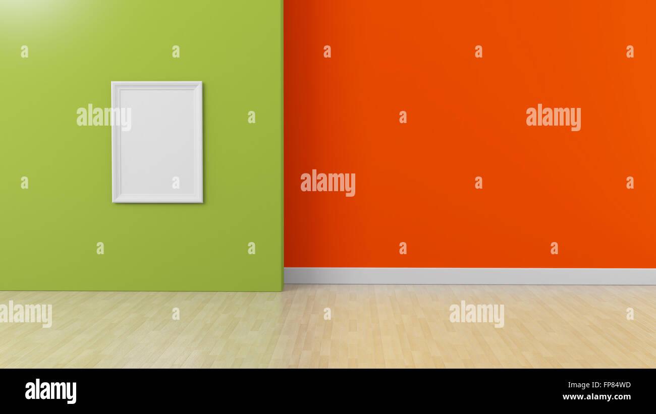 White frame on Green orange colored Interior background ...