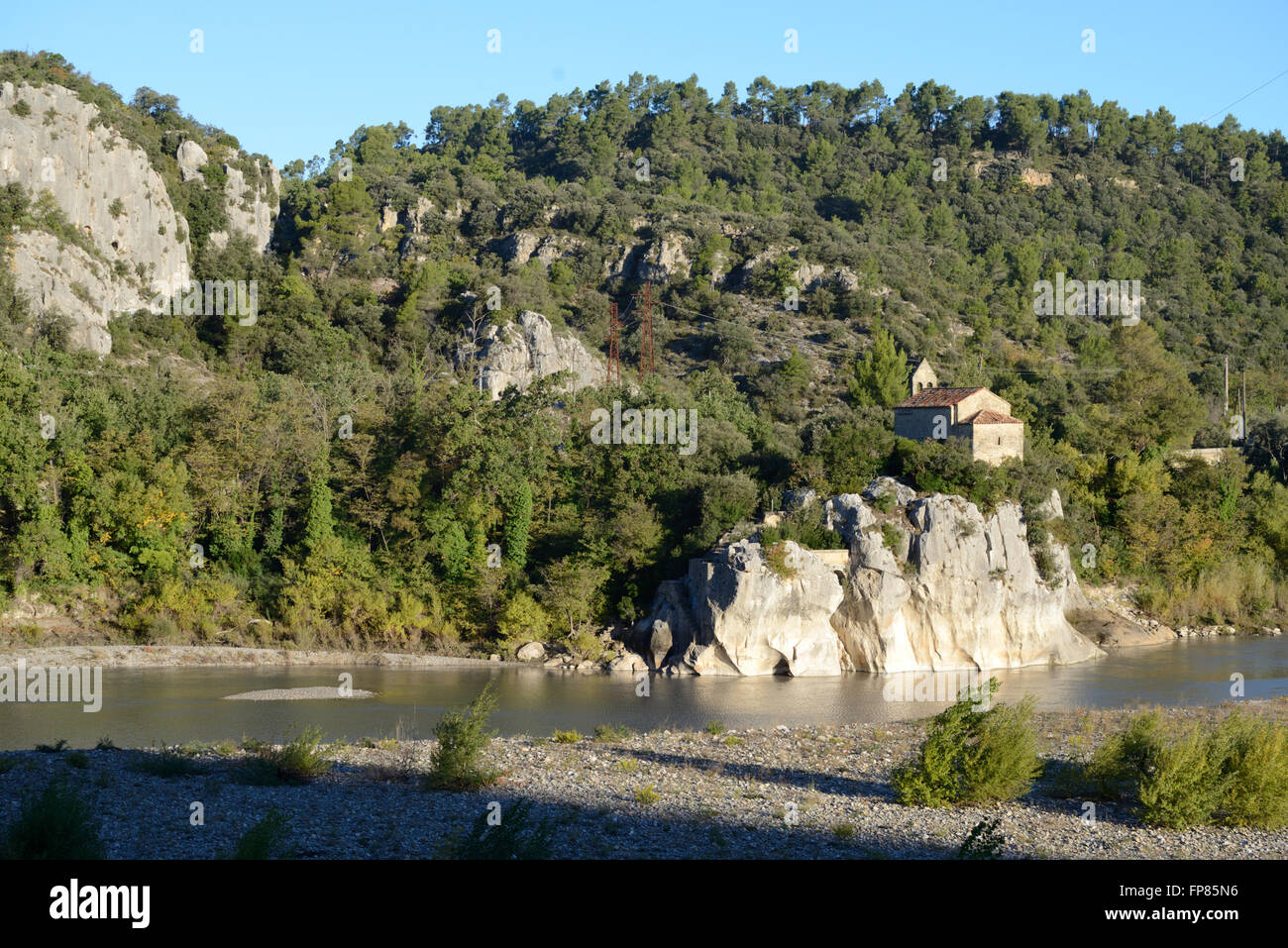 Sainte Madeleine Chapel at Mirabeau in the Luberon Regional Park Durance River & Valley Provence France - Stock Image