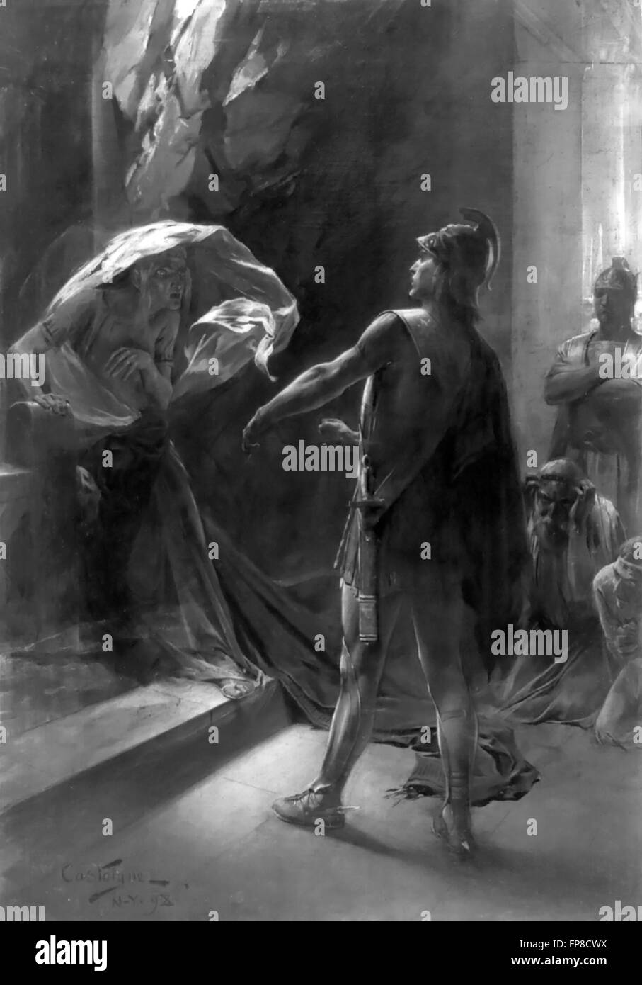 'Alexander coercing the Delphian Oracle', an illustration by Andre Castaigne, 1898, depicting Alexander - Stock Image