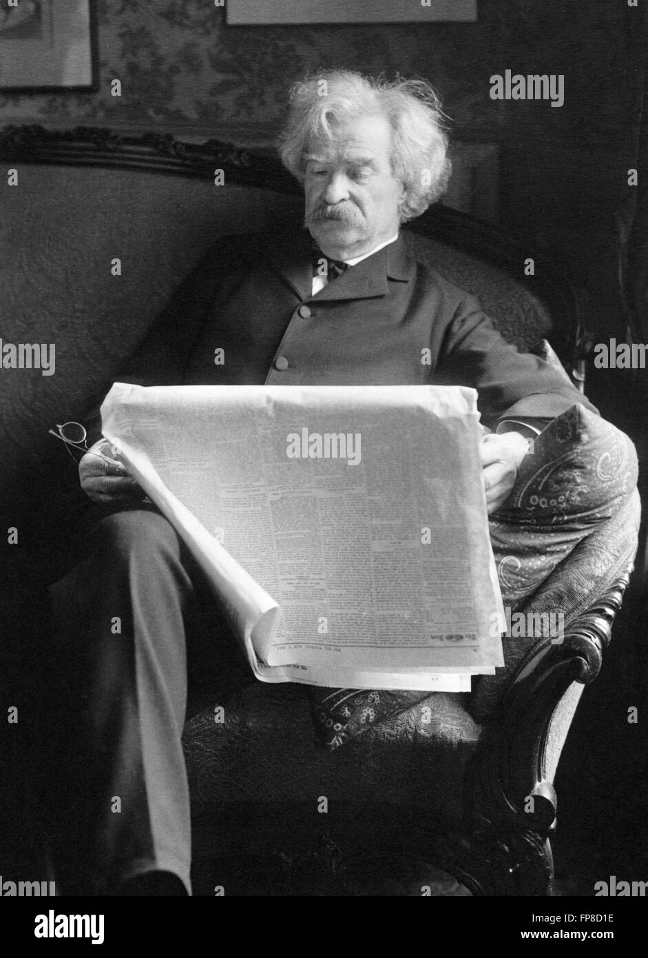 Mark Twain. Portrait of the American writer Samuel Langhorne Clemens,by Charles Bolles, May 1901 - Stock Image