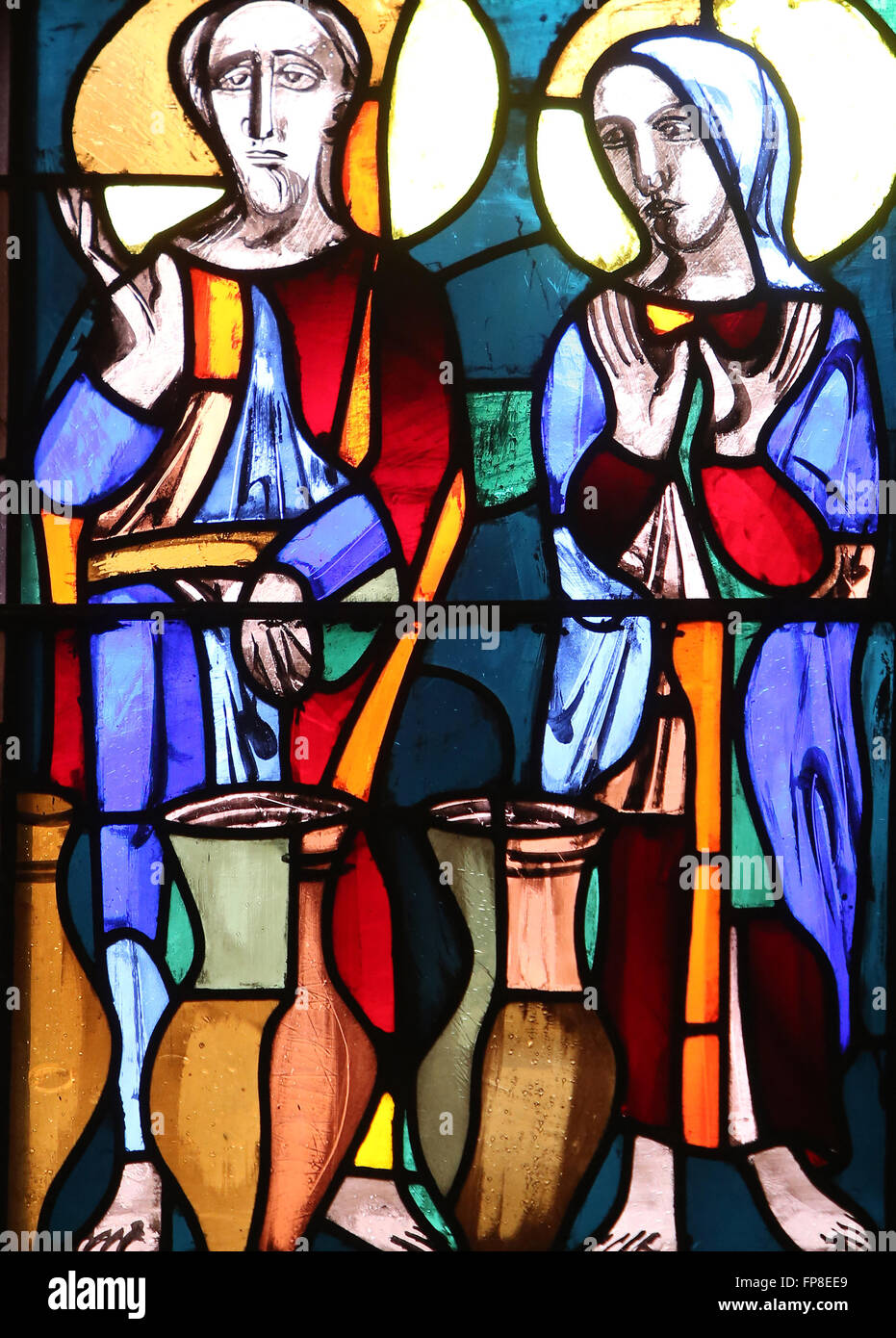 Wedding at Cana, stained glass window in Basilica of St. Vitus in Ellwangen, Germany Stock Photo