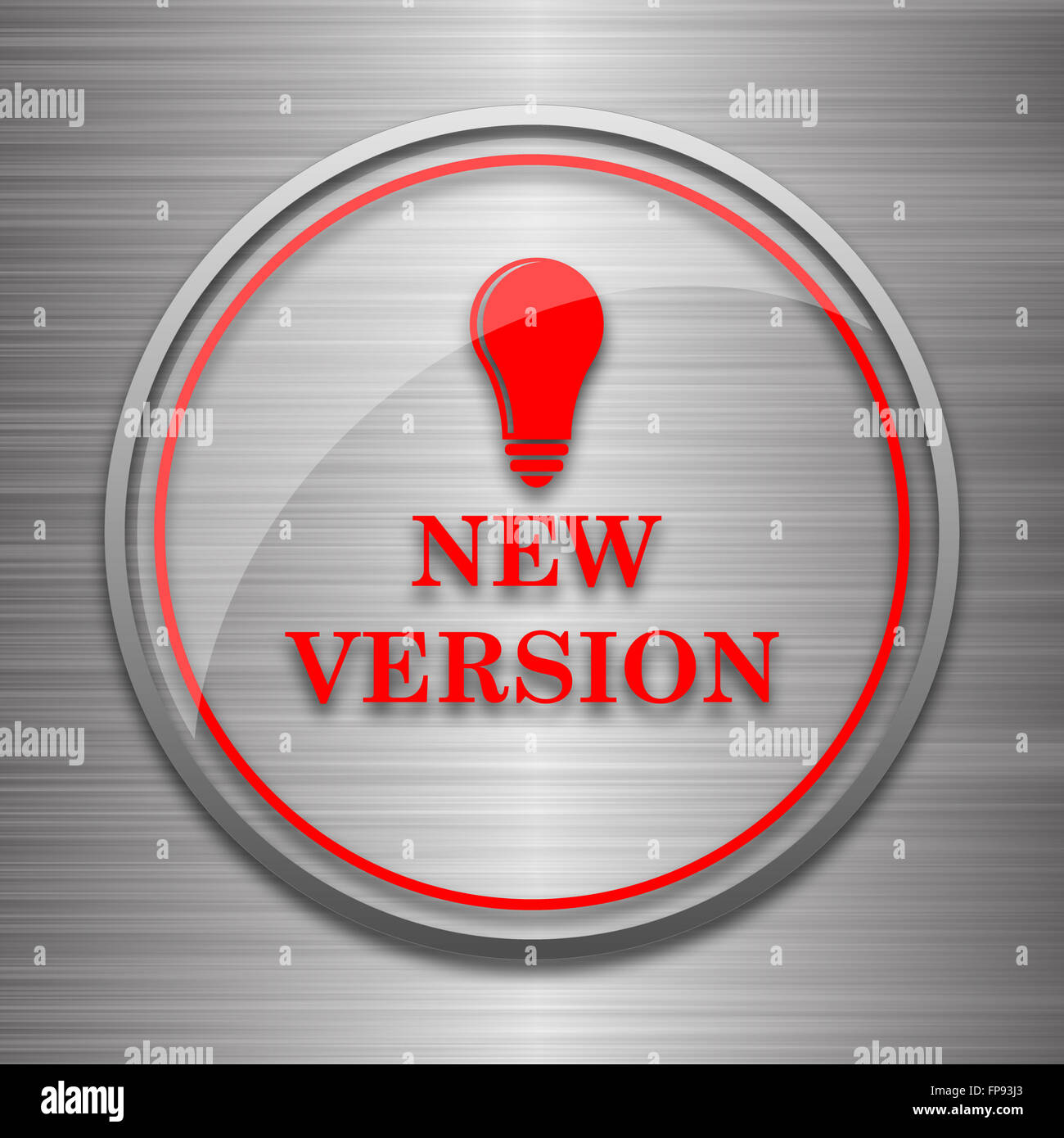 New version icon. Internet button on metallic background. - Stock Image