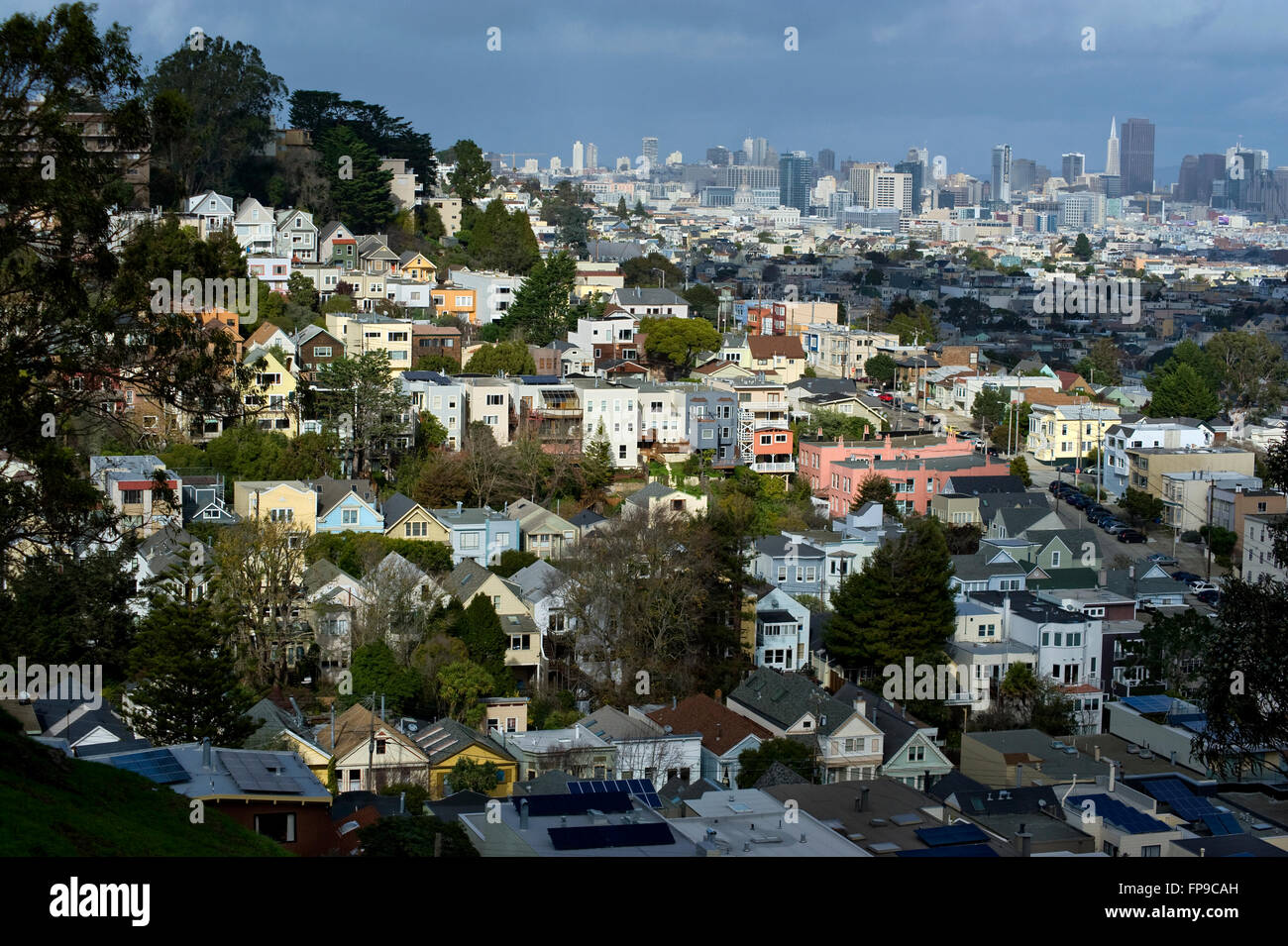 San Francisco city skyline and homes - Stock Image