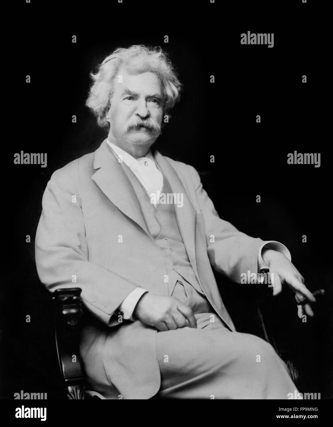 Mark Twain. Portrait of the American writer Samuel Langhorne Clemens, by A F Bradley, 1907 - Stock Image