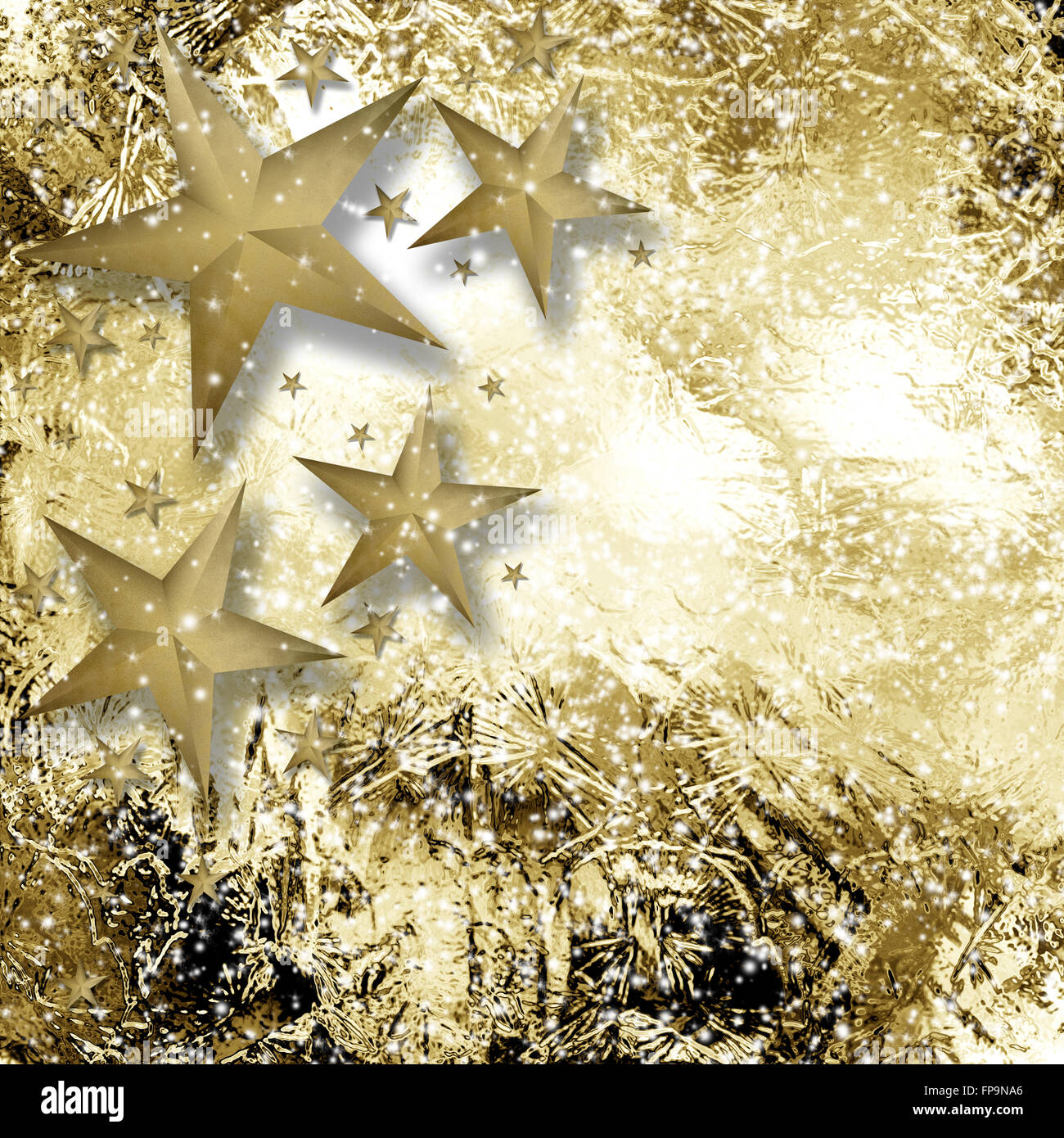 Gold and white sparkle star background with rough texture - Stock Image