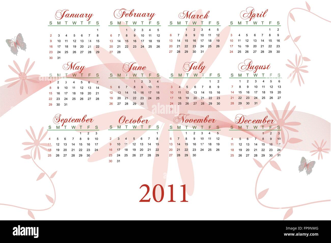 Image of a red floral 2011 calendar. Stock Vector
