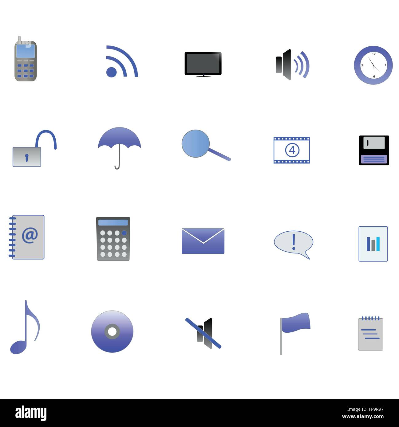 Various blue web icons on a white background. Stock Vector