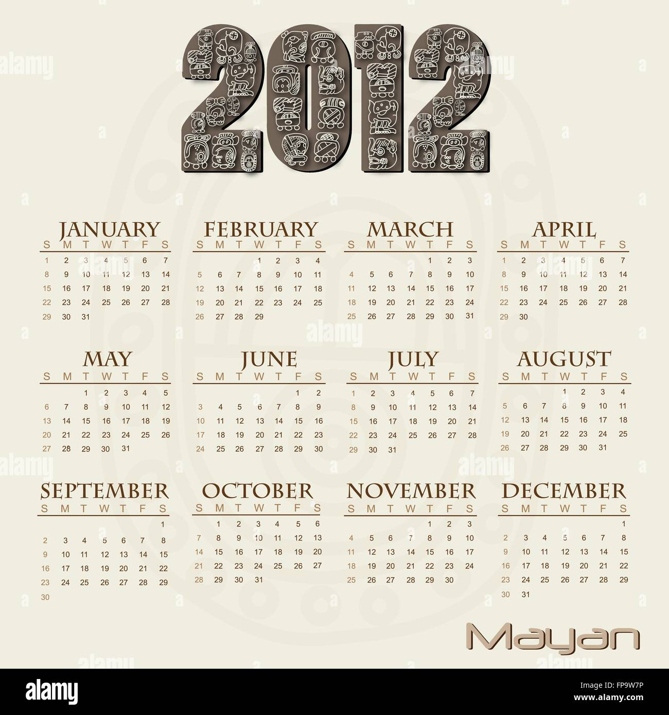 Image of a Mayan themed 2012 calendar. Stock Vector