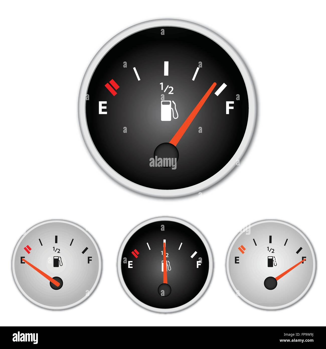 Image of various gas gages isolated on a white background. - Stock Image