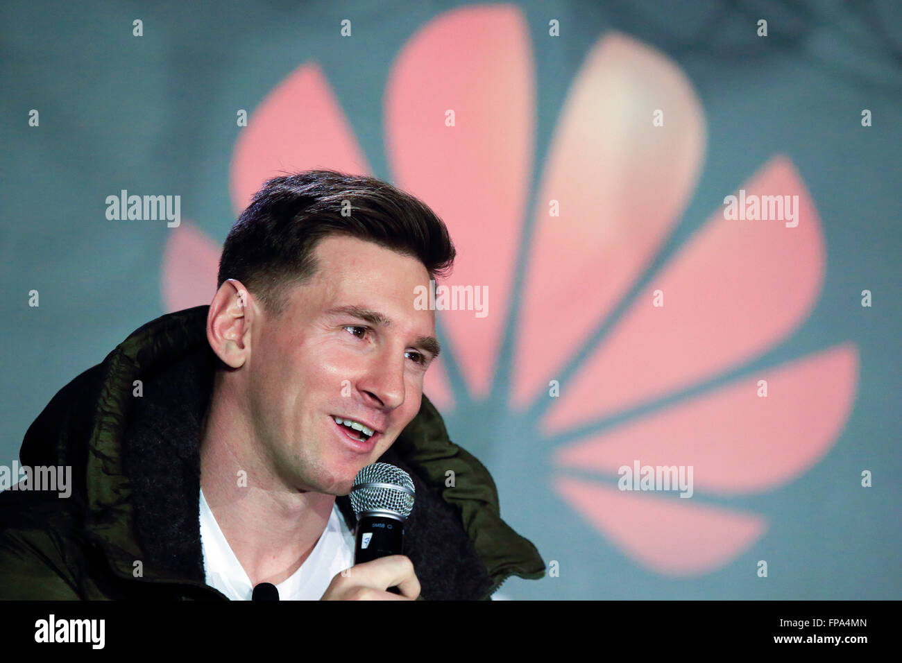 Barcelona, Spain. 17th Mar, 2016. FC Barcelona's Argentinian forward Lionel Messi attends a press conference - Stock Image