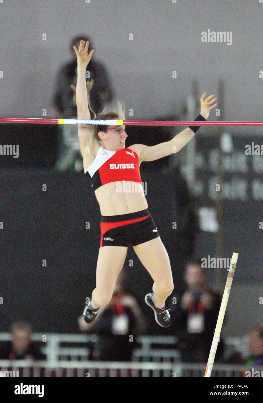 March 17, 2016: Nicole Bchler sets a Swiss National indoor record in the Women's pole vault at the 2016 World - Stock Image