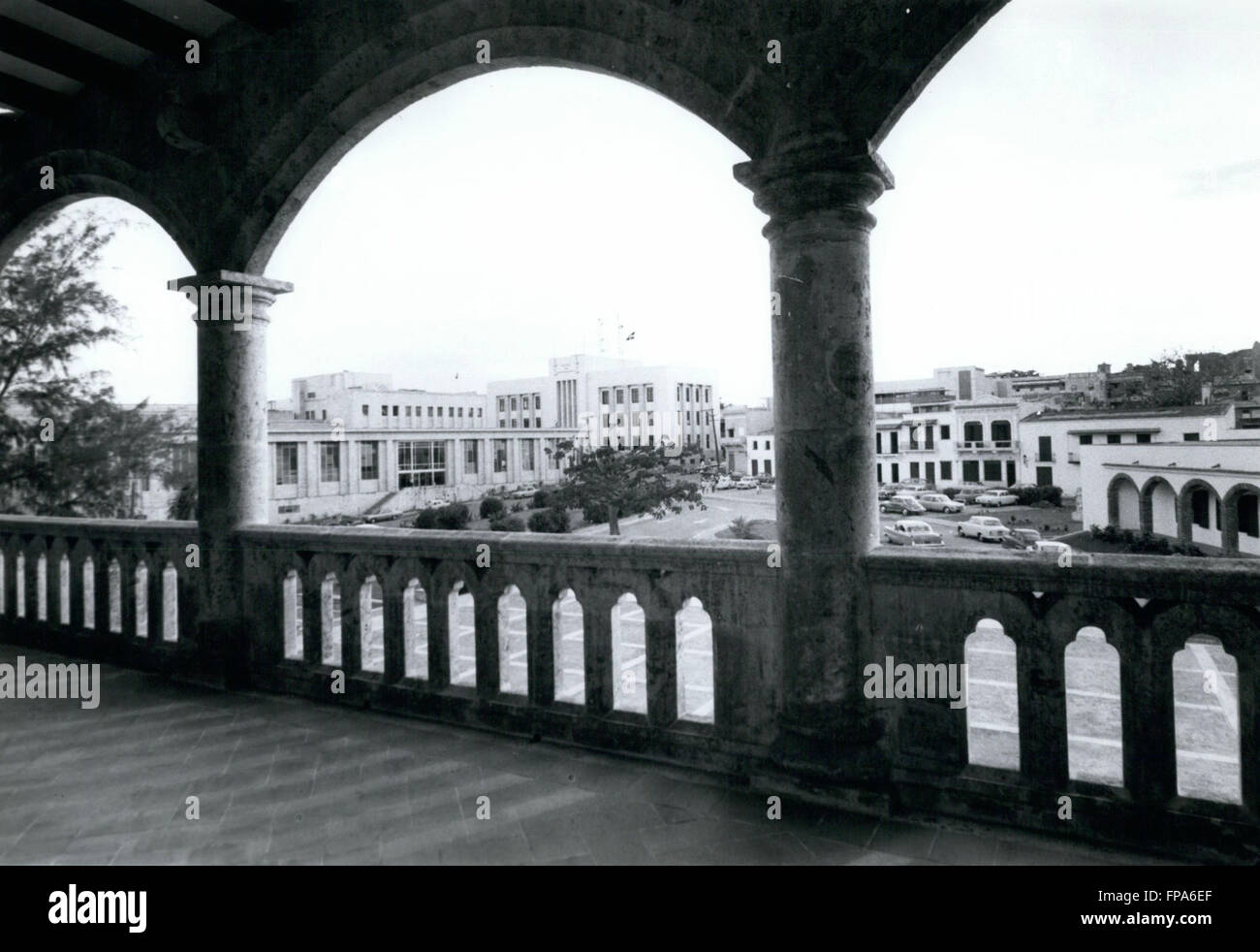 1962 - Dominican Republic : View of the capital city of Santo Domingo seen from the Alcazar (house of the Columbus Stock Photo