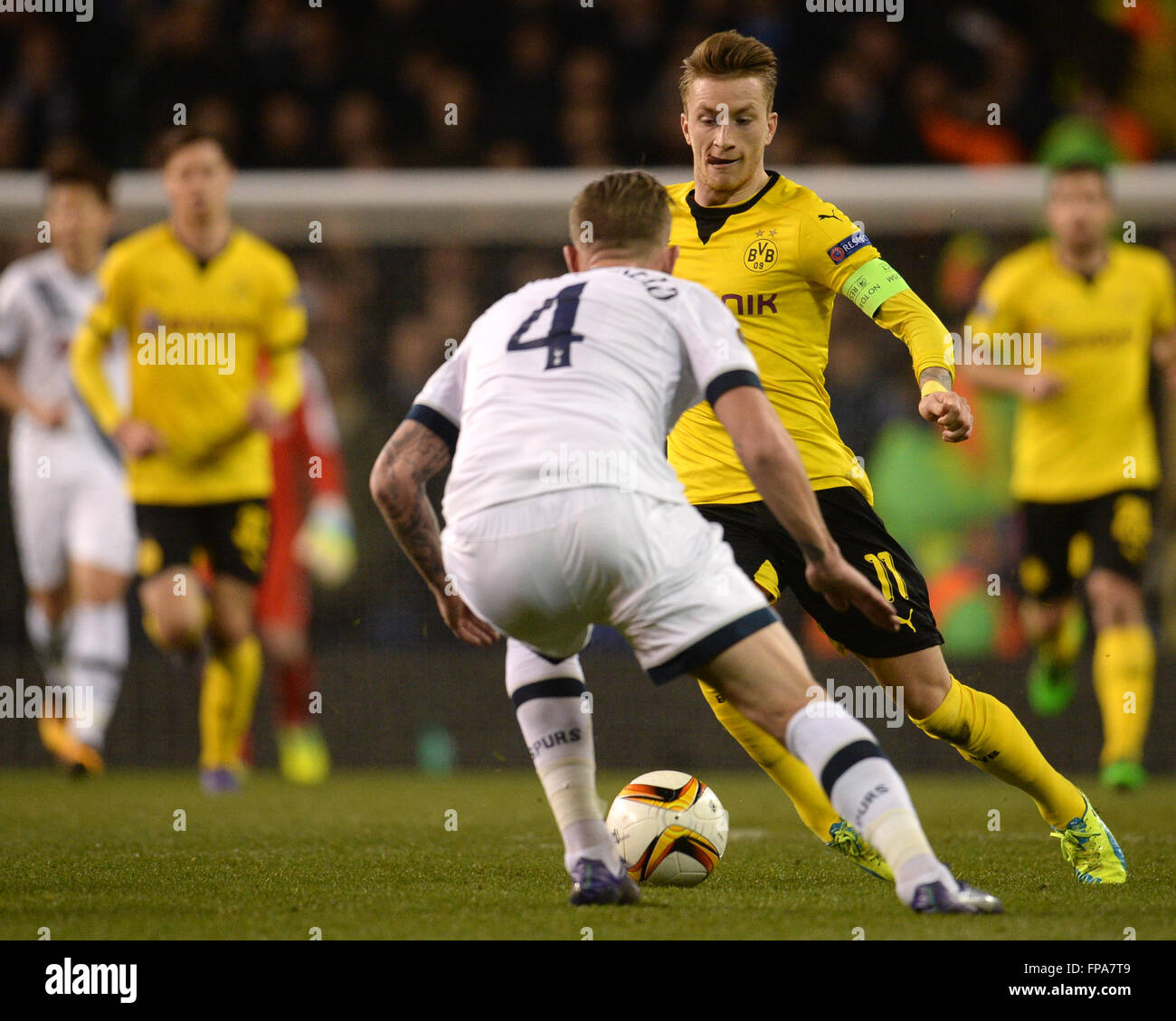 London, Great Britain. 17th Mar, 2016. Dortmund\'s Marco Reus (R) and ...